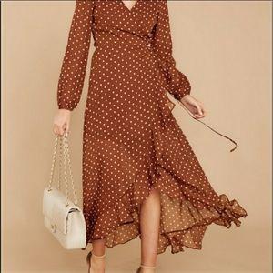 Listicle Wrap Dress in Brown Polka Dot, M